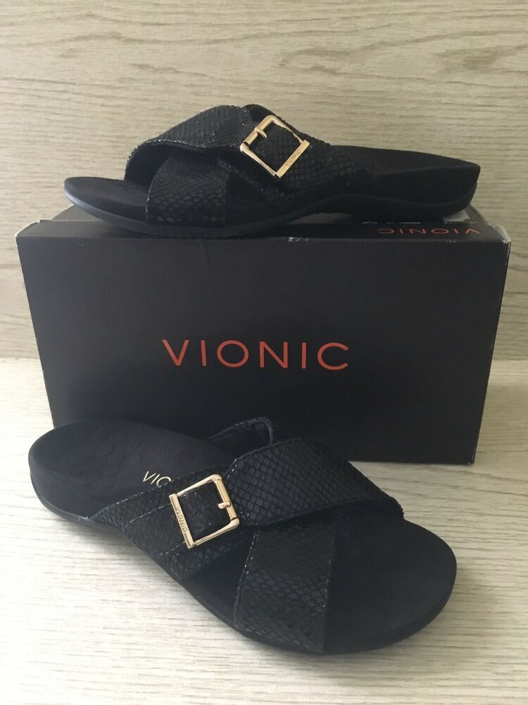 e4da6fdd503d2 New Vionic Dorie Womens Sandals Size 9 Black Criss Cross Slip On Snake  Textured