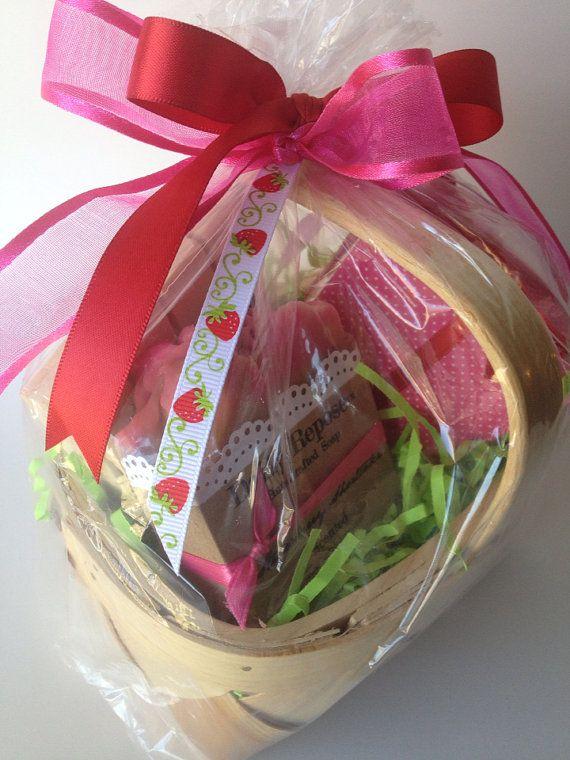 Strawberry shortcake soap gift basket set easter vegan cold strawberry shortcake soap gift basket set easter vegan cold process soaps bath salt on etsy negle Images