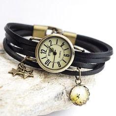 Diy - kit montre - bracelet en lanières de cuir multi-rangs - montre et breloques couleur bronze