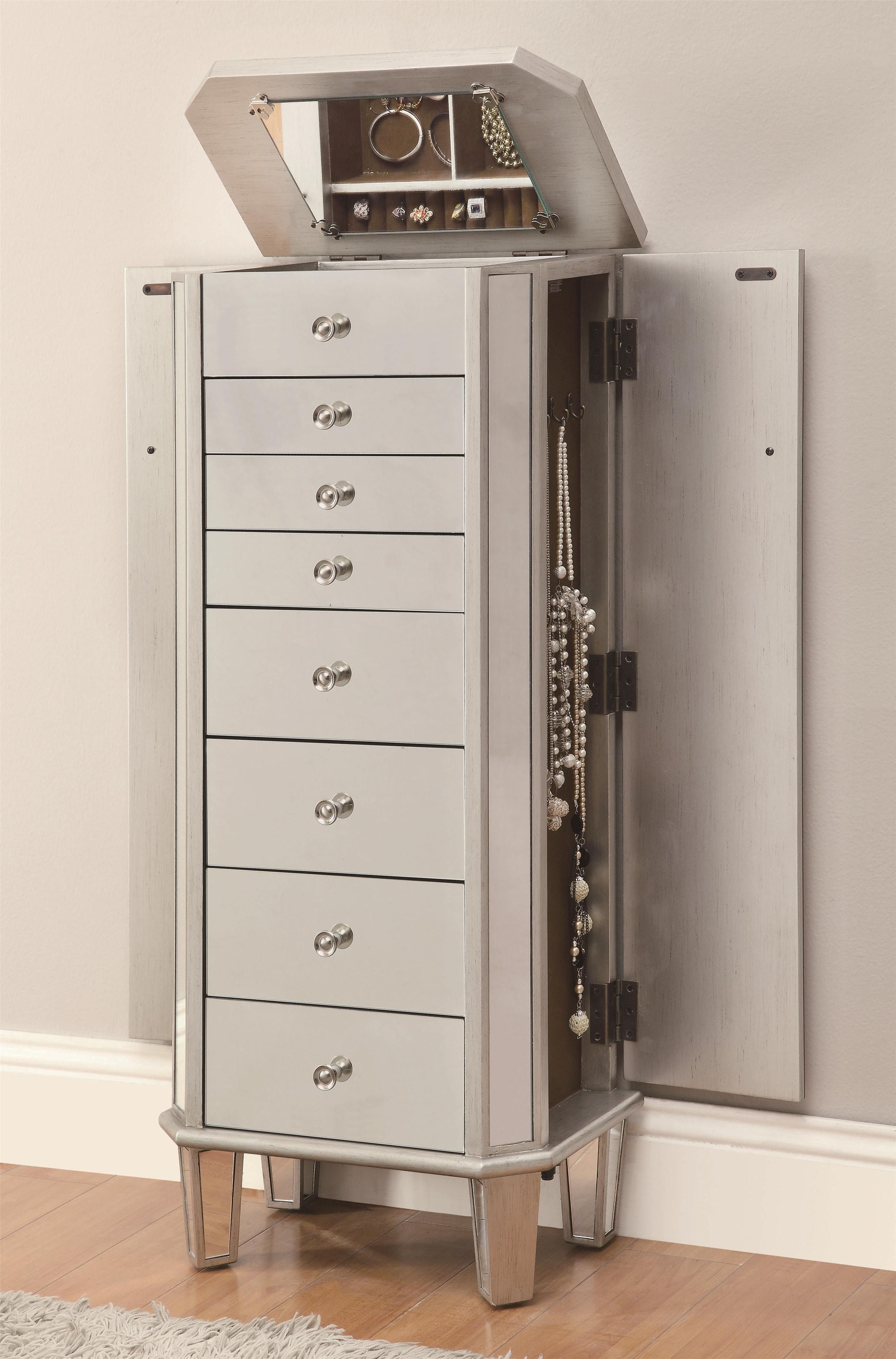white mirrored jewelry armoire with 8 drawers and 2 side doors for