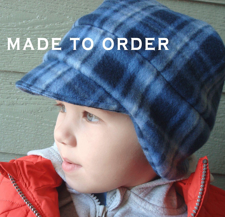 Kids Hat For Boys Boys Winter Hat Plaid Boy Hat Ear Flap Etsy Boys Fleece Hat Boys Fleece News Boy Hat