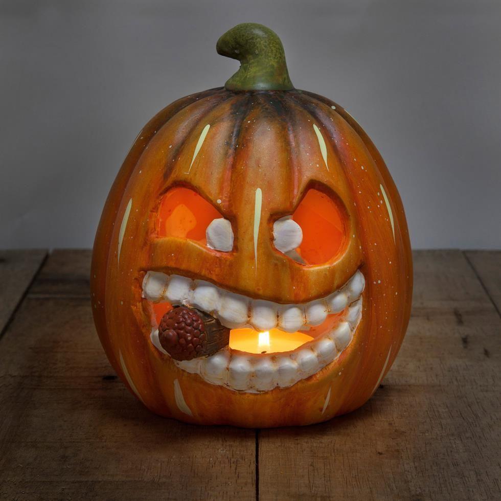 19cm Ceramic Halloween Grinning Pumpkin Tea Light Lanterns ...