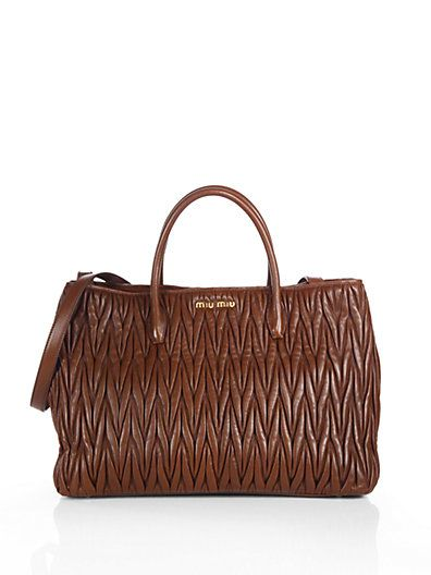 Miu Matelasse Double Handle Tote Saks