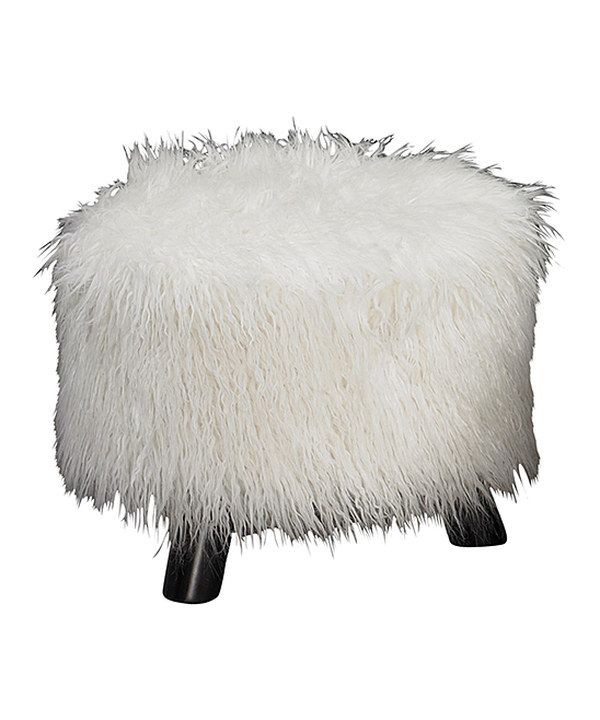 Look at this White Faux Flokati Foot Stool on #zulily today!
