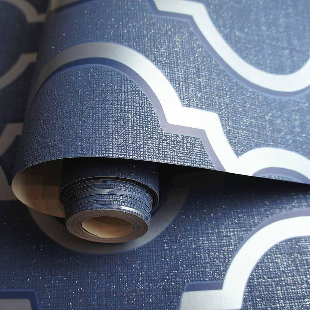 Holden Decor Latica Geometric Trellis Navy Wallpaper (With