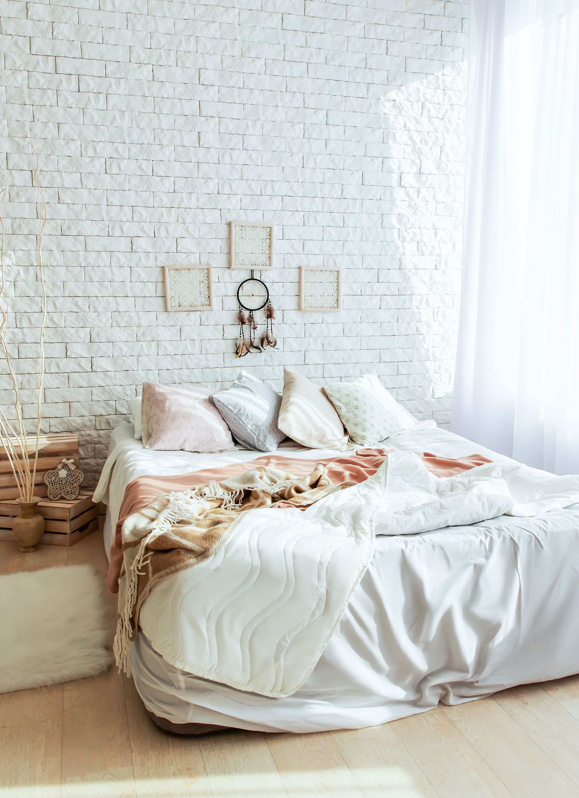 amusing brick accent wall bedroom | A cozy bedroom design idea with a whitewashed brick accent ...
