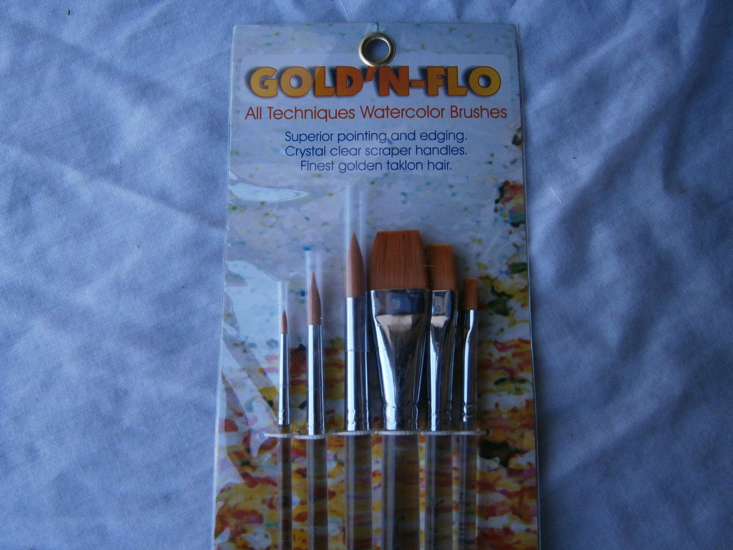 Gold N Flo All Techniques Watercolor Brushes Taklon Hair Scraper