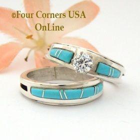 Size 9 Turquoise Engagement Bridal Wedding Ring Set Native American Wilbert Muskett Jr WS 1583