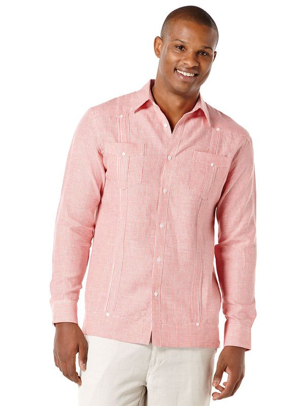 100% Linen Long Sleeve Gingham 2 Pocket Guayabera | Christine and ...