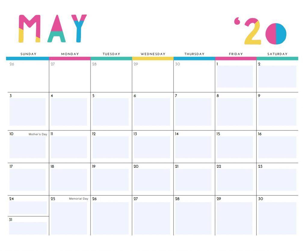 Cute May 2020 Calendar Designs In 2020 Calendar Design