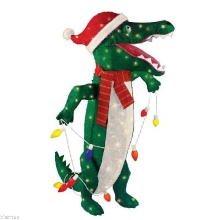 New 36 lighted tinsel alligator standing christmas yard for Alligator yard decoration