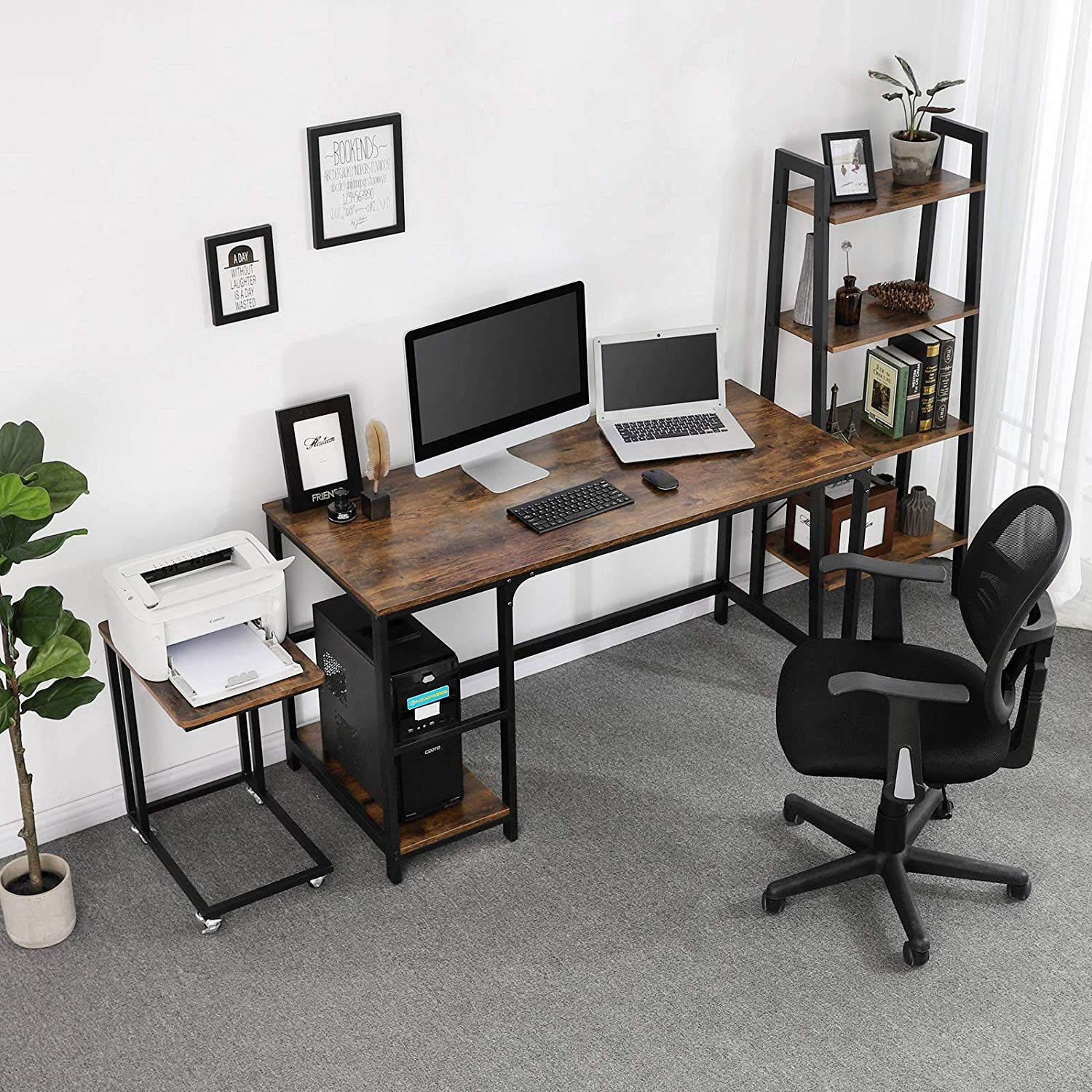 Black and Brown Industrial 55 Inch Wood and Metal Desk with 2 Shelves