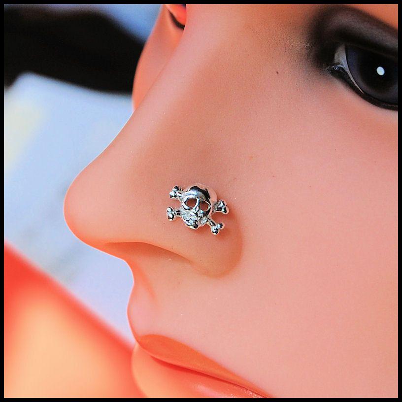 Dazzling Piercing Cork Screw Nose Stud Pink CZ Sterling Silver Nose Ring