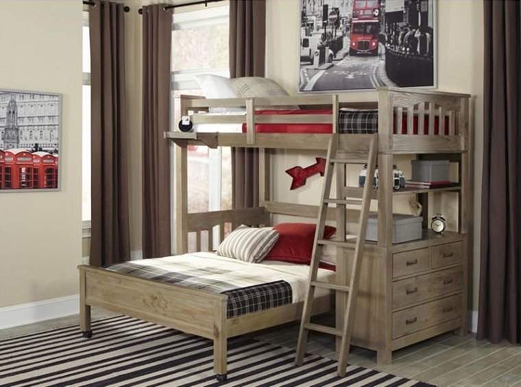 Crosspointe Collection Twin Over Full L Shape Bunk Beds In Driftwood Finish
