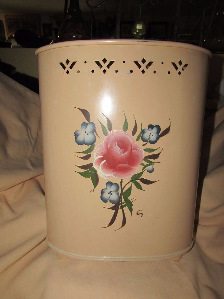 Vintage Metal Detecto Waste Can Hand Painted W Wooden Feet