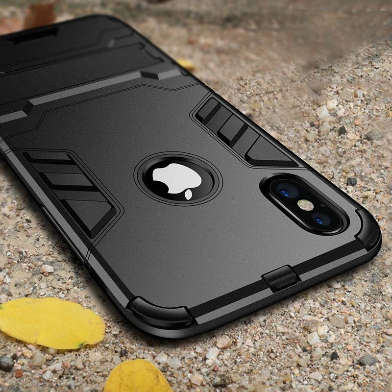 Luxury Shock Proof Holder Phone Case For iPhone Black