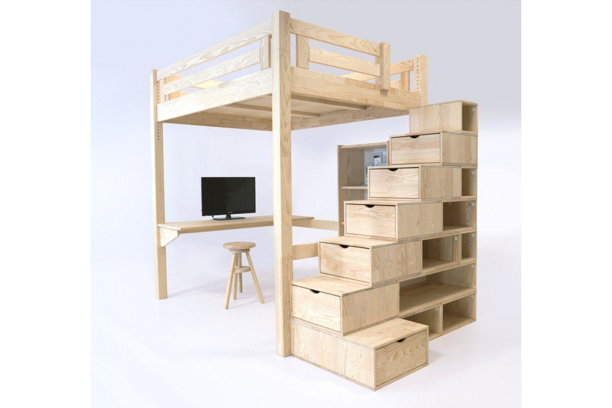 Lit Mezzanine Escalier Cube lit mezzanine alpage bois + escalier cube hauteur réglable
