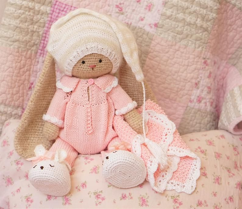 DIY KIT Bedtime Baby Bunny Toy (Boy or Girl) - Materials Set (see description) / Toy by PolushkaBunny #crochetelements