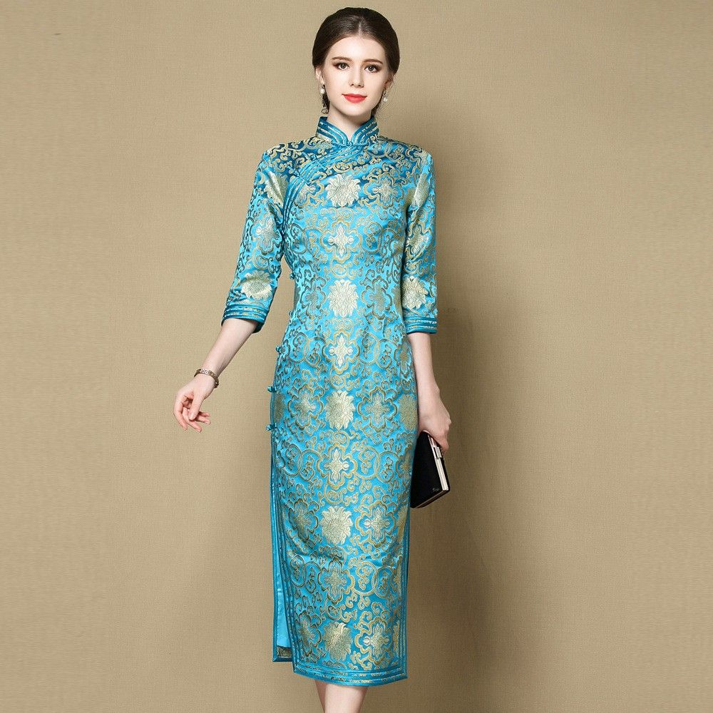 Chinese Evening Dresses Long Traditional Chinese Dress Long Sleeves Clothes For W Chinese Dresses Pattern Chinese Traditional Costume Traditional Chinese Dress [ 917 x 917 Pixel ]