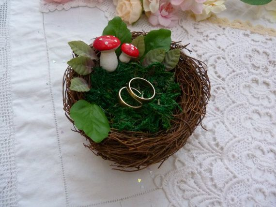 Rustic Vine Artificial Bird Nest Ring Bearer Pillow, Filled With Natural  Dried Moss And Surrounded