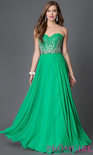 Jewel Accented Bodice Xcite Strapless Sweetheart Prom Dress at PromGirl.com