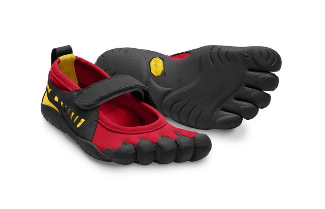 Kid's Sprint Vibram FiveFingers - Spring 2012 toe shoes for kids featuring the original Vibram FiveFingers (flat/razor-siped) five-toed rubber sole with an open top with a single strap over the instep.  Like the adult Sprint (less the heel straps).  Photo from a preview.