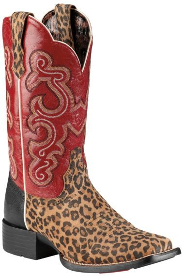 Ariat Quickdraw Leopard Print Cowgirl Boots - Square Toe ...