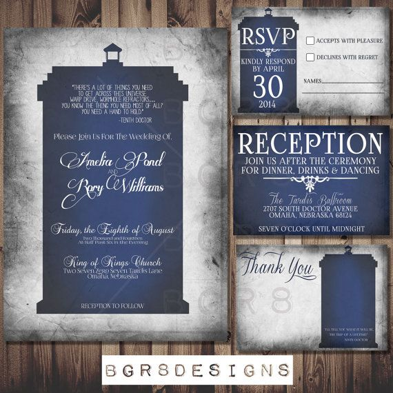 Doctor Who Tardis Wedding Invitation Set Printable Diy The