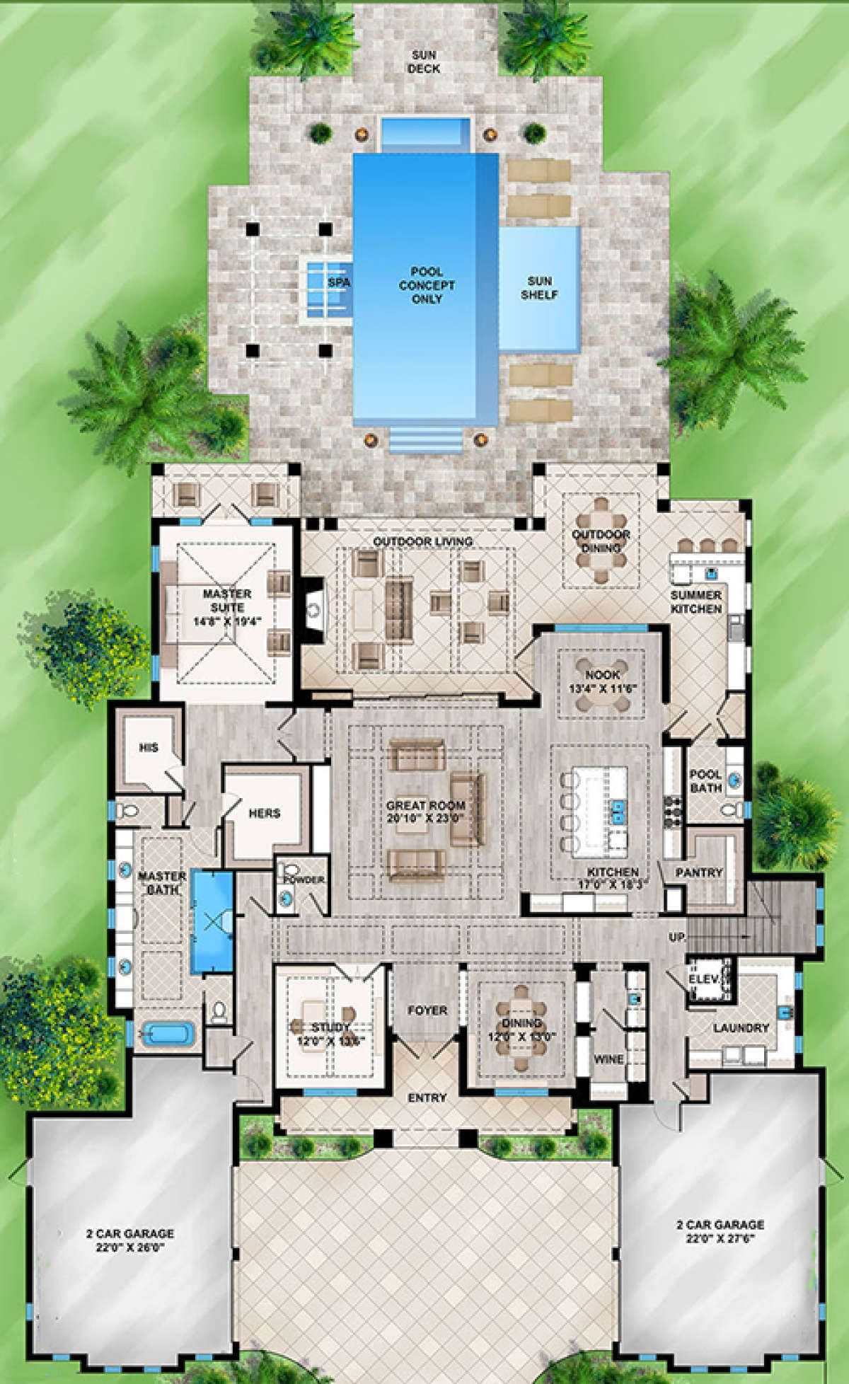 House Plan 207 00050 Florida Plan 5 464 Square Feet 4 Bedrooms 5 Bathrooms In 2021 Florida House Plans Dream House Plans Florida Home