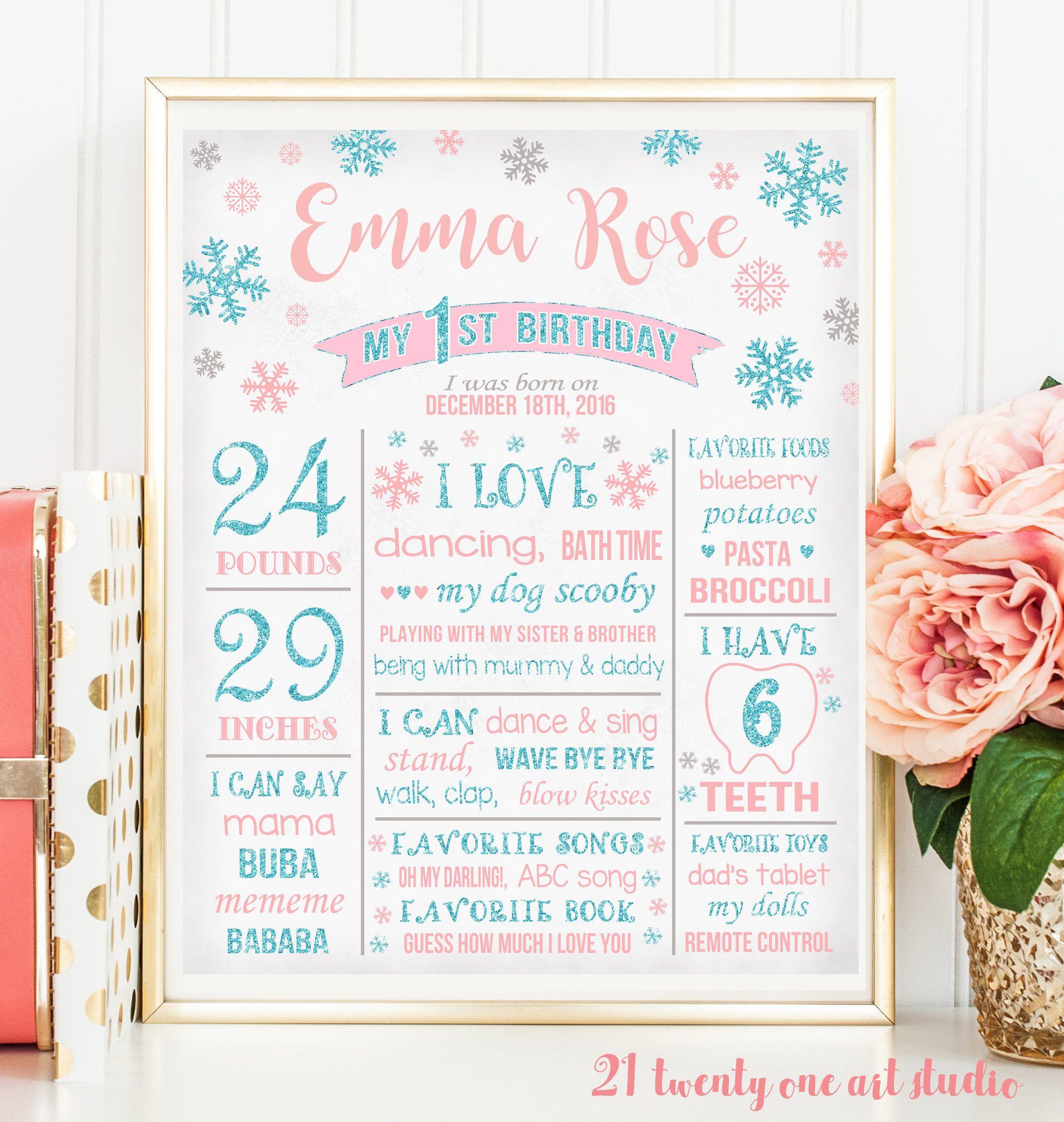 Winter Wonderland First Birthday Sing, Pink and Blue Glitter ...