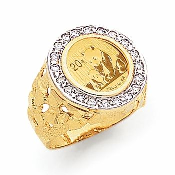 Mens 24 Karat Gold Panda Coin Diamond Nugget Ring In 14k Setting Gold Coin Ring Coin Ring New Jewellery Design
