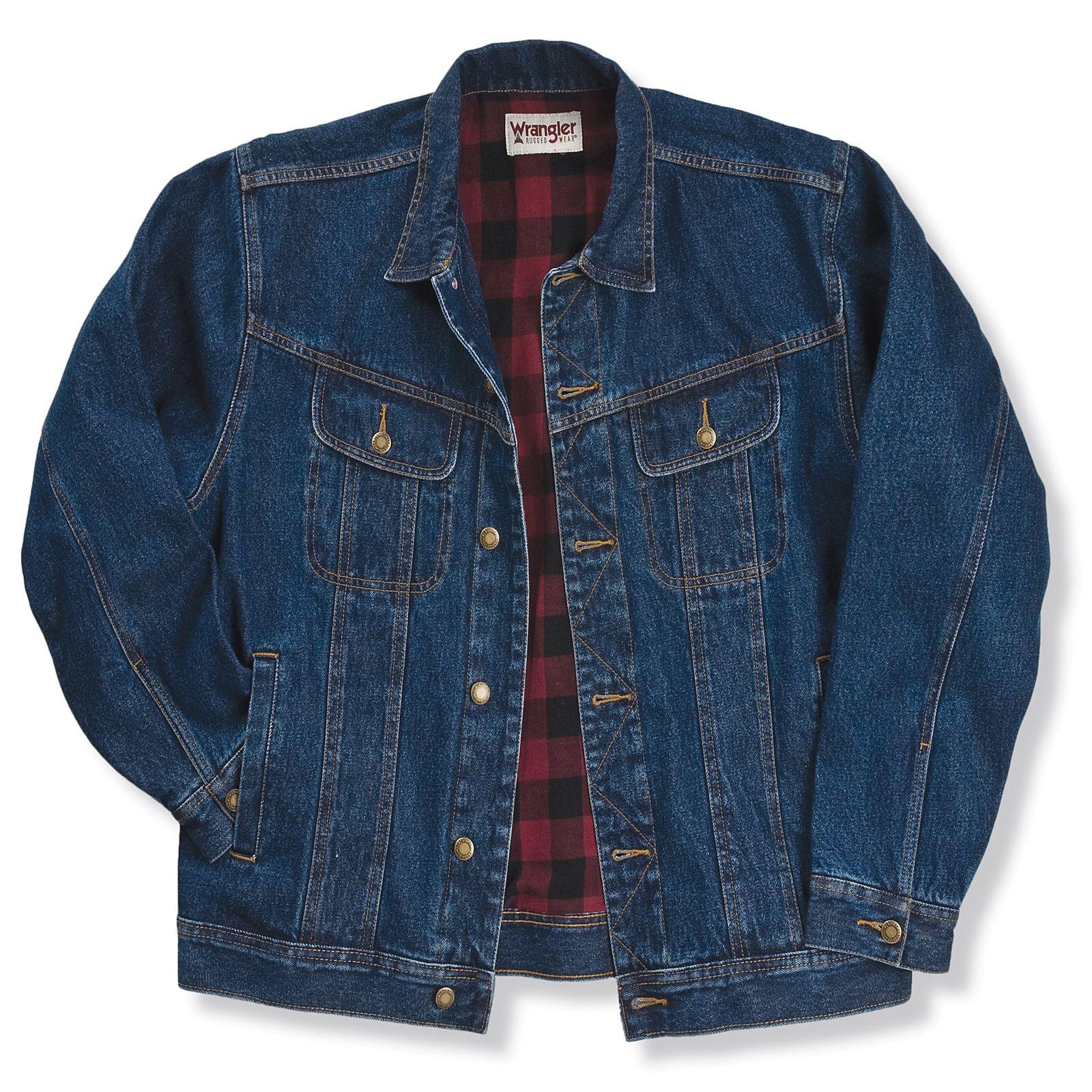 Wrangler Wrangler Rugged Wear Flannel Lined Denim Jacket Antique Navy Big Tall Lined Denim Jacket Mens Jackets Outerwear Jackets [ 1600 x 1600 Pixel ]