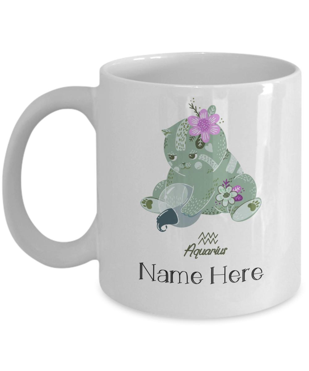 Personalized Aquarius Cat Mug. Perfect gift for cat lovers