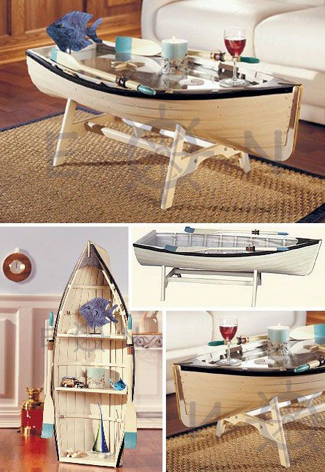This Nautical Rowing Dory Coffee Table Is 48 Inches Long With A Glass Top