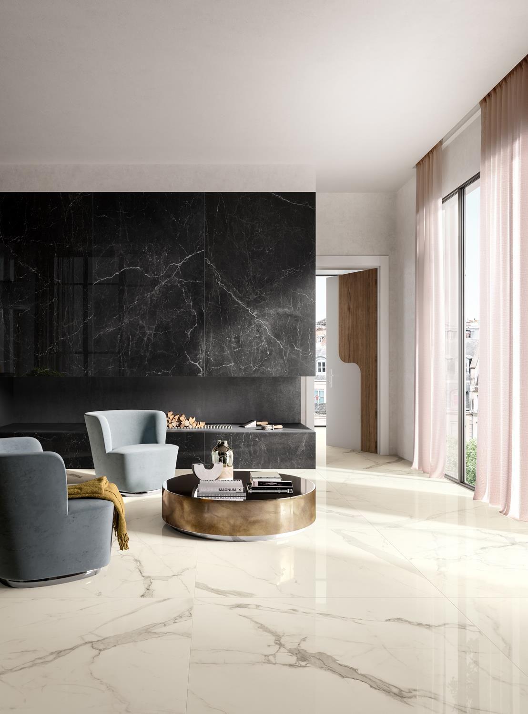 Zero 3 Eternity Marble Living Room Floor Tile Floor Living Room White Tile Floor #white #floor #tiles #in #living #room