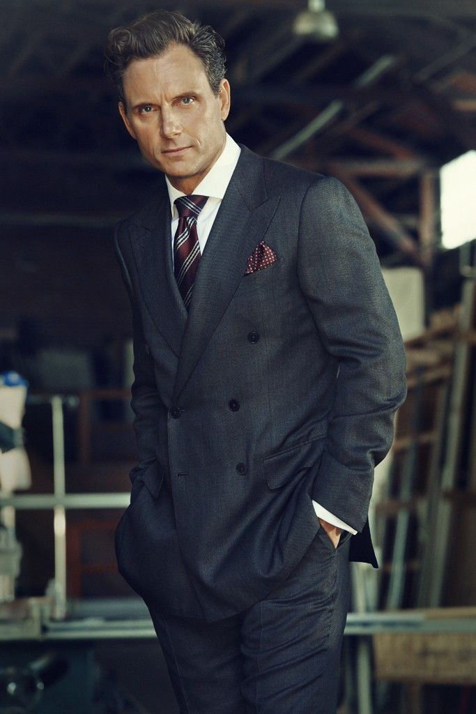 Tony Goldwyn in Ermenegildo Zegna's wool suit and Canali's cotton shirt. Ermenegildo Zegna tie and Giorgio Armani pocket square. [Photo by Jill Greenberg]