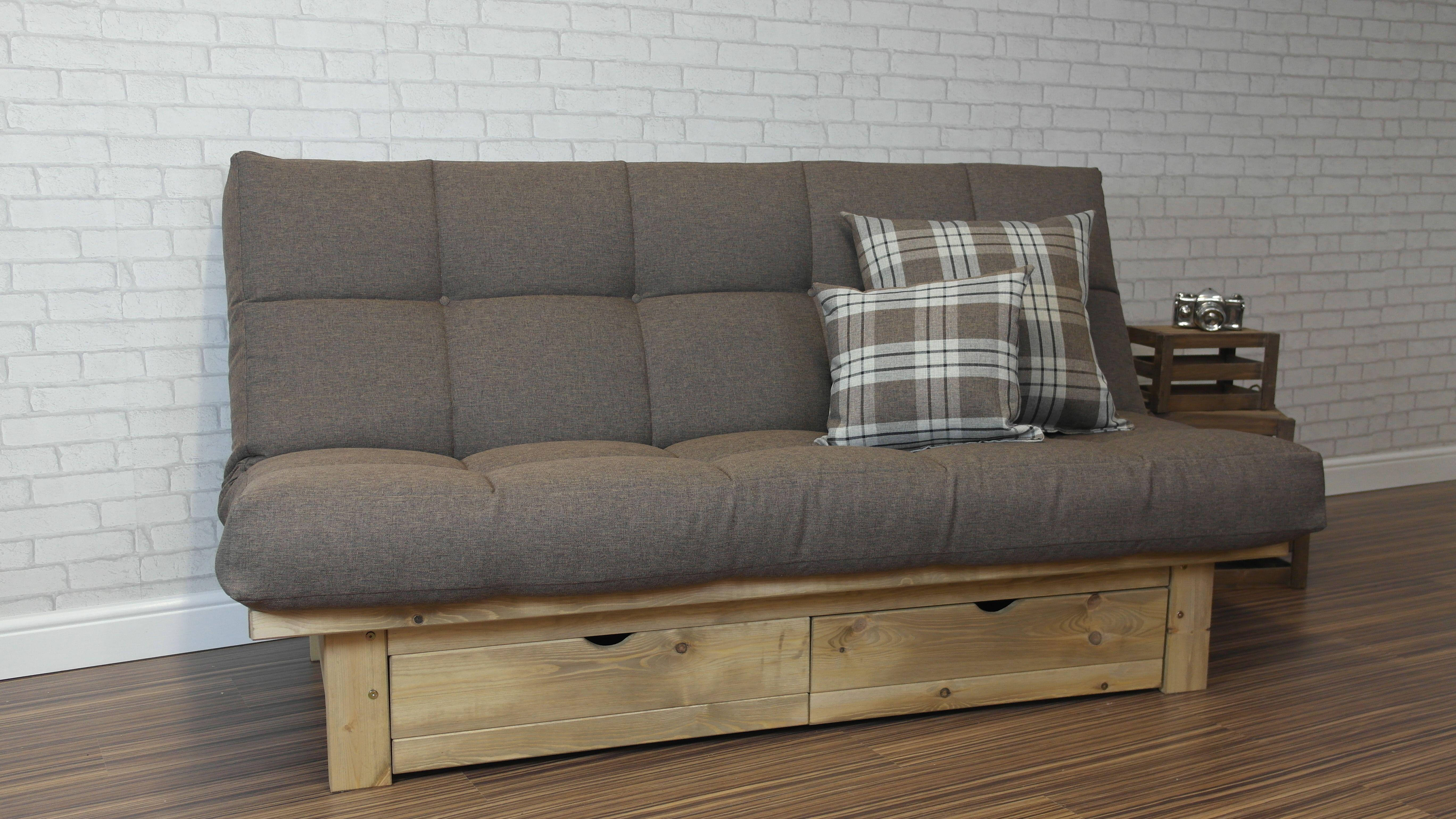 sofa bed futon style maze rattan half moon corner set grey beds