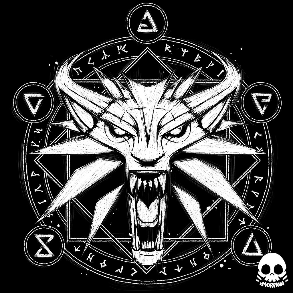 Wolf Medallion T Shirt Witcher Tattoo Witcher Medallion White Wolf Tattoo
