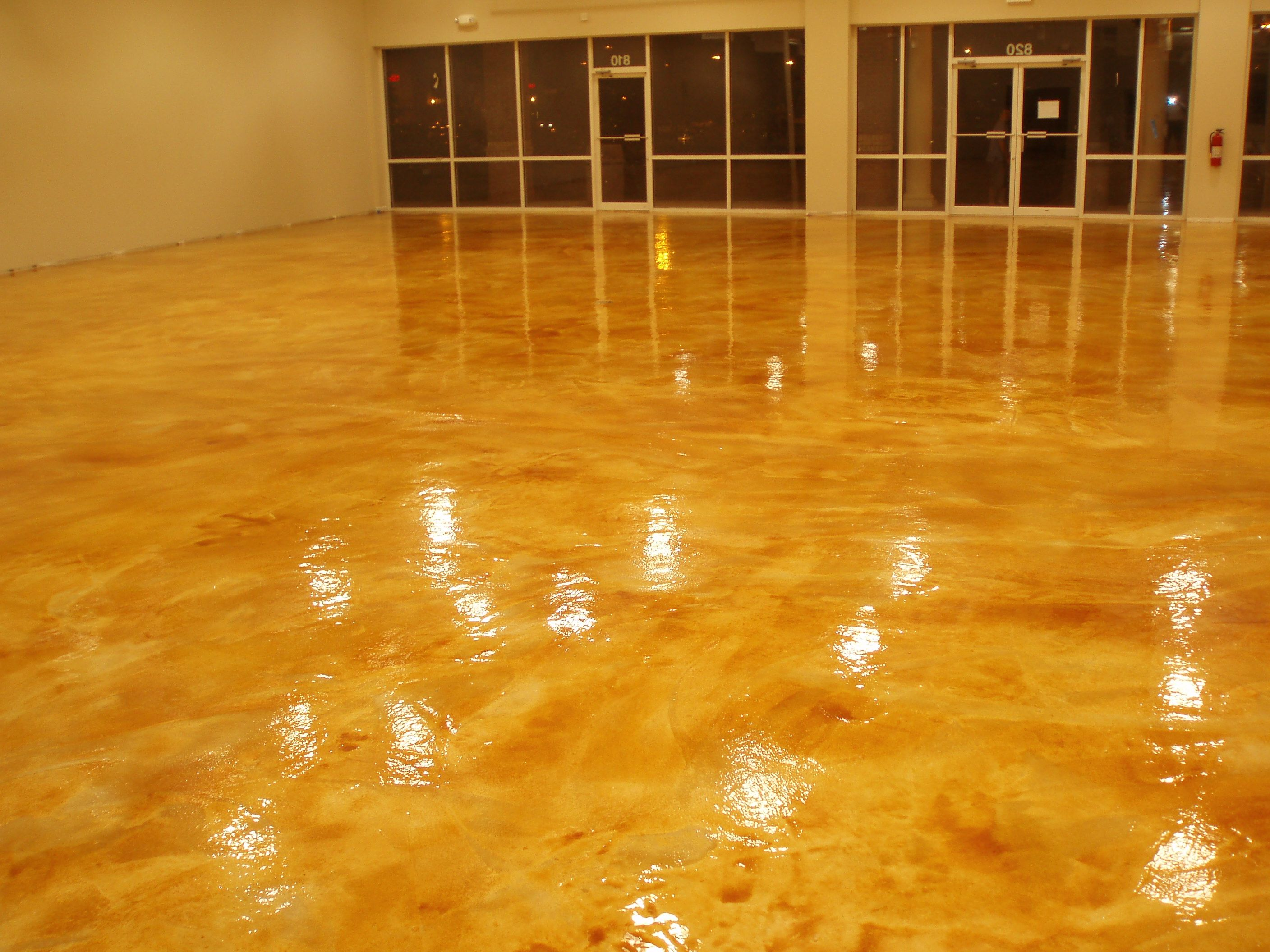 Concrete Wood Floors Awesome Glossy Yellow Painting With Are Painted Concrete Floors