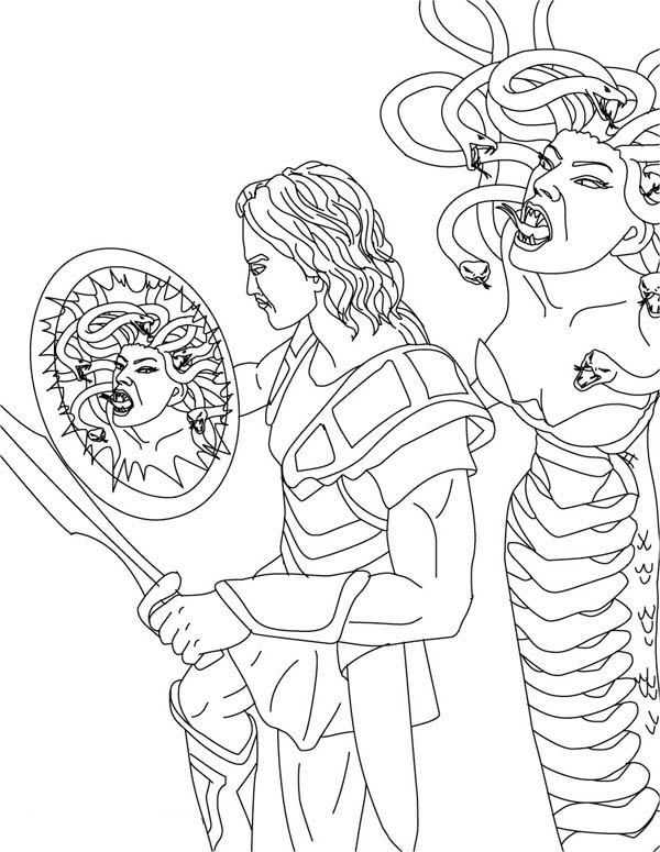 Perseus And Medusa Coloring Page Netart In 2020 Coloring Pages Coloring Books Perseus And Medusa