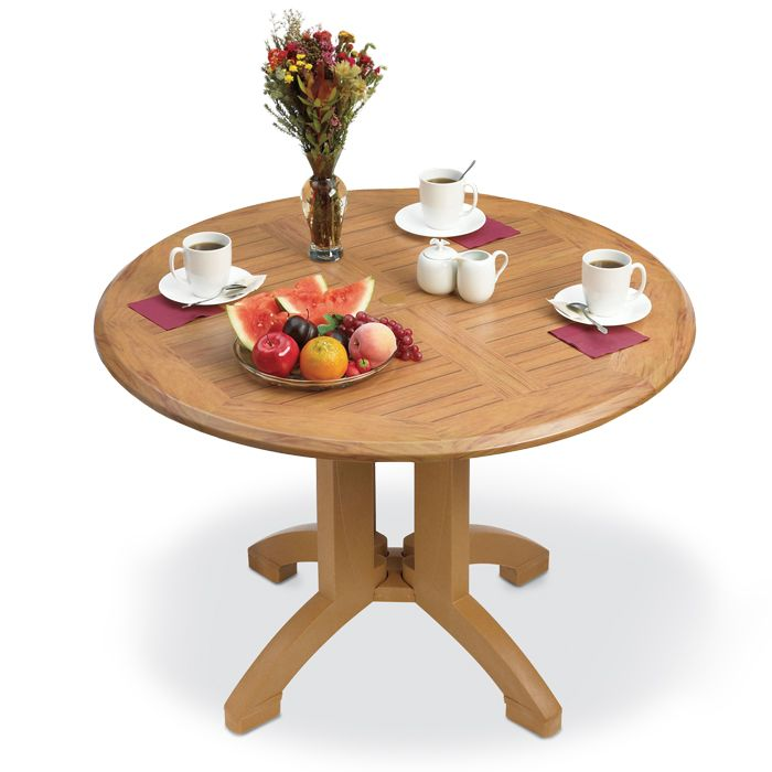 42 Round Plastic Table With Teak Wood Appearance Pool Patio