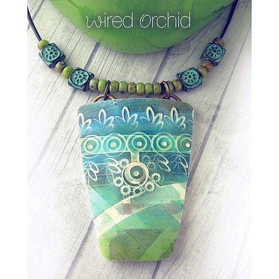 BEACH JEWELRY Pretty Pottery. Polymer clay pendant using stencils by StencilGirlProducts, www.wiredorchid.com, #stencilgirlproducts, #wiredorchid, #necklaces, #beachjewelry, #jewelrydesign, #necklace, #polymerclaycreations, #polymerclaynecklace, #jewelry, #etsy