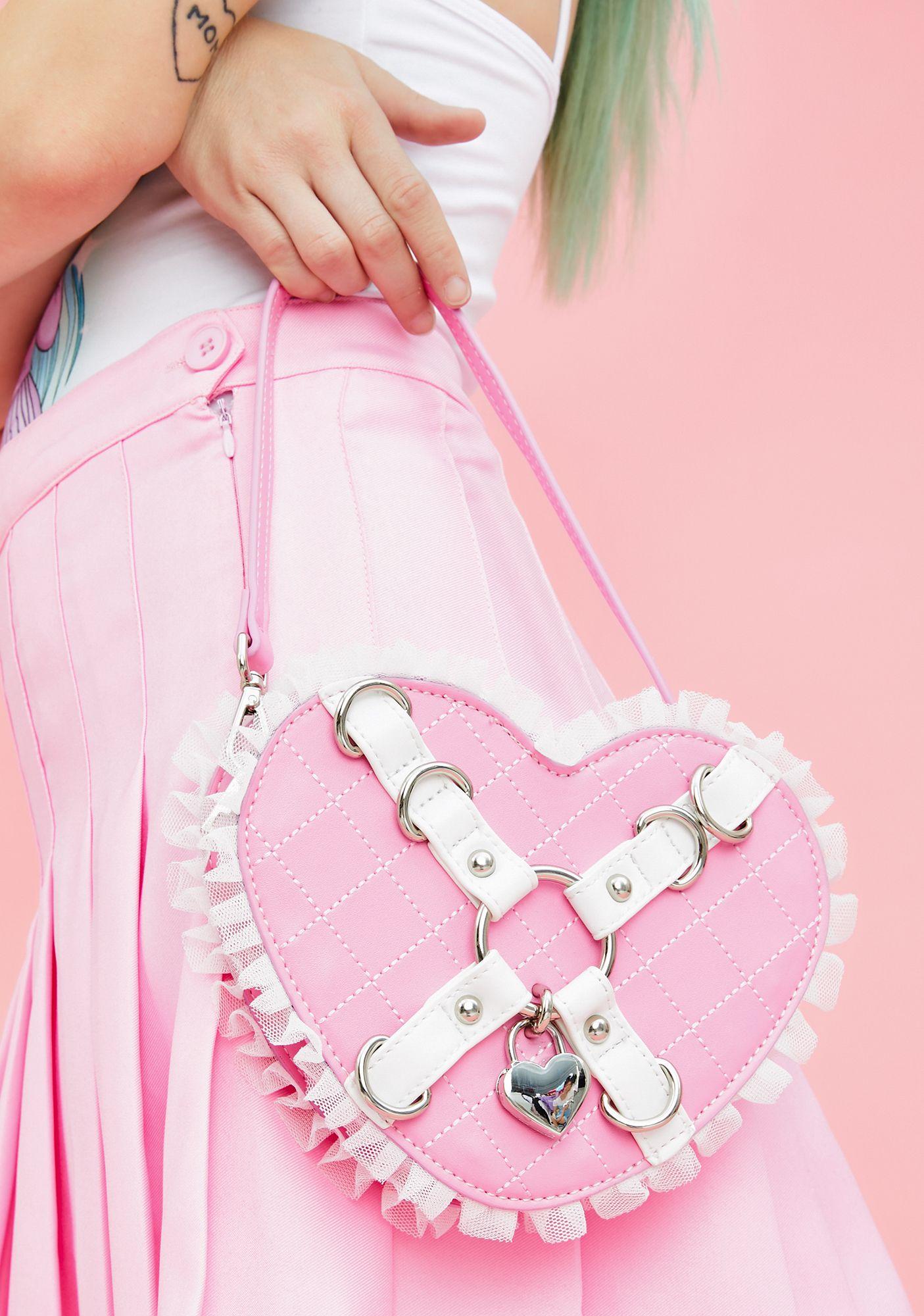Sugar Thrillz Locked In Love Heart Purse Pink One