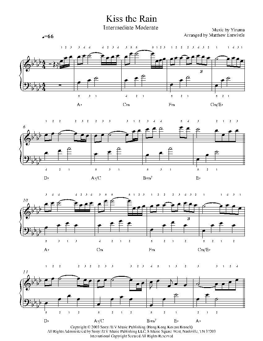 Kiss The Rain By Yiruma Piano Sheet Music Intermediate Level