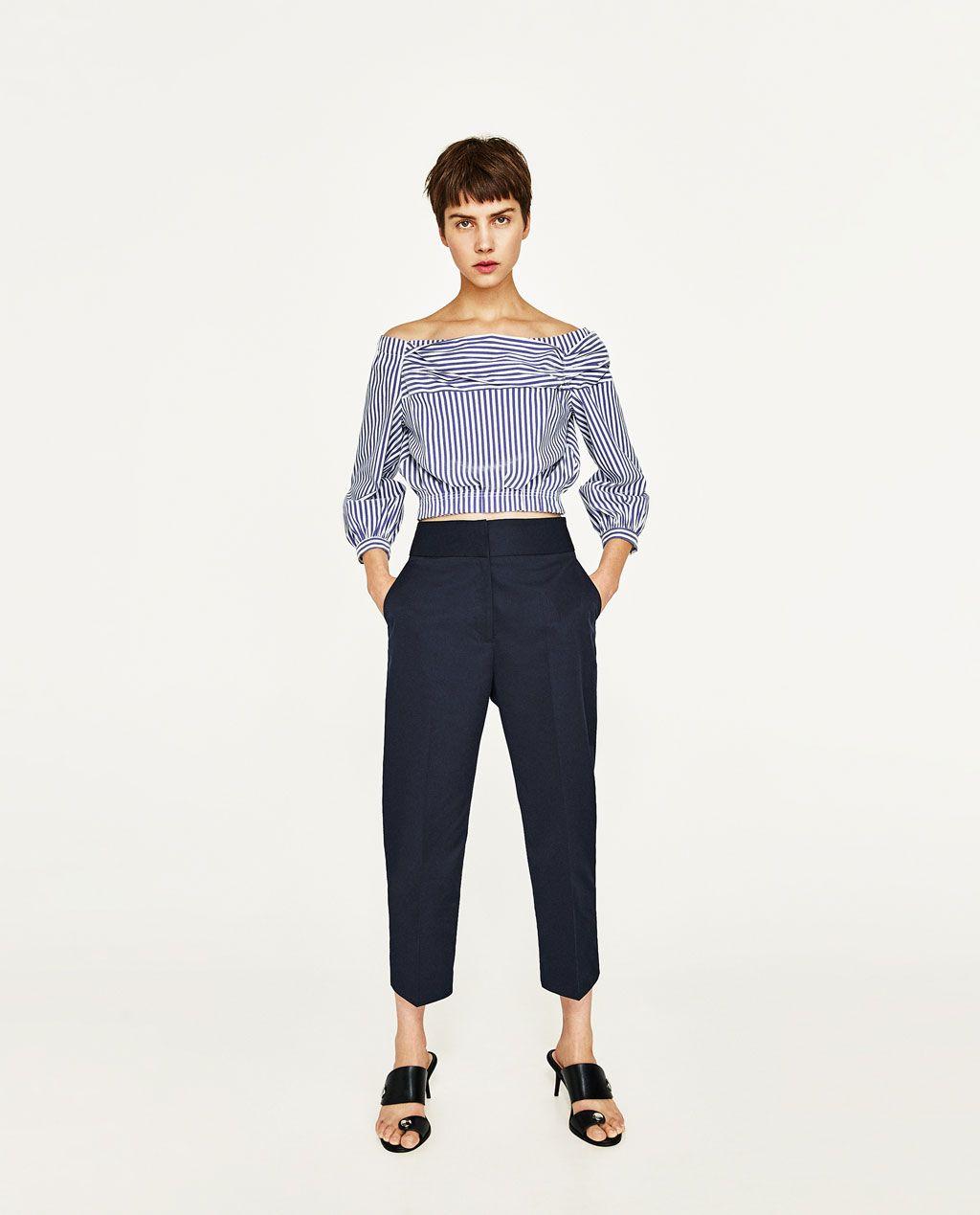 318a4b4c Off The Shoulder Striped Blouse Zara