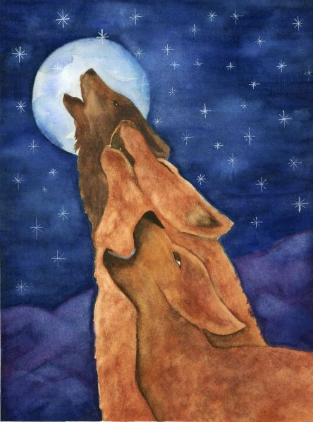 """Wolf Art -""""Bedtime Prayers"""" - Watercolor by Lorraine Skala - Please visit my Etsy Shop to purchase prints & notecards"""