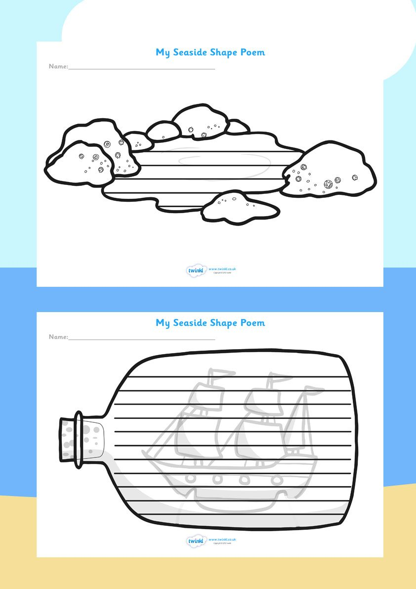 The Seaside- Shape Poetry Templates | Seaside Resources | Pinterest