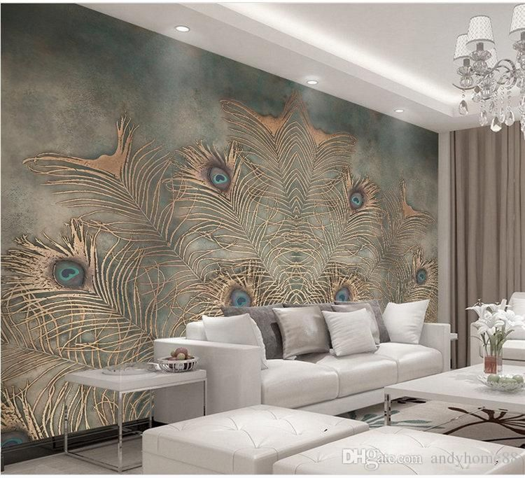 New Chinese Peacock Feather Tv Background Wallpaper Bedroom Living Room Nonwoven Fabric Wallpaper Wallpaper Customization Feifan From Andyhome88 25 13 Dhgat Wallpaper Living Room 3d Wallpaper Living Room Wallpaper Designs For Walls