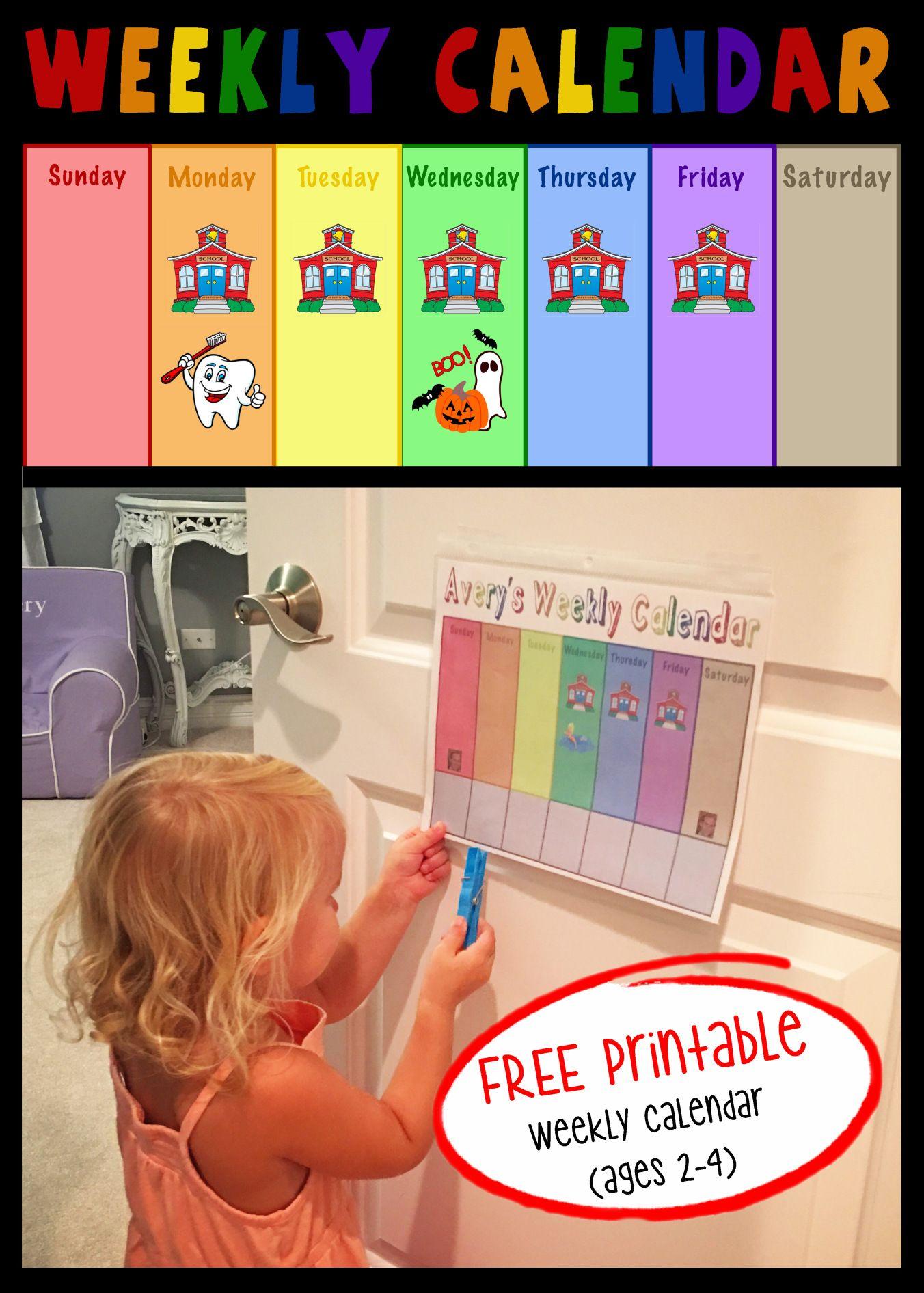Free Printable Toddler Weekly Calendar