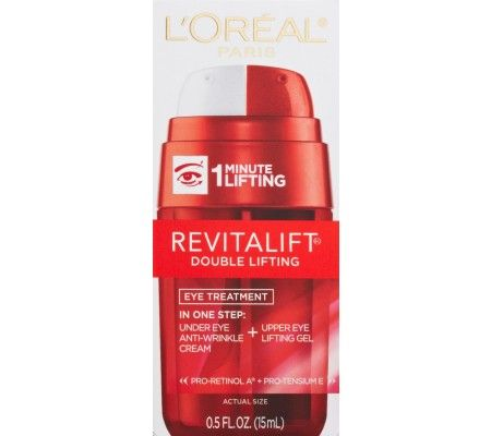 L'Oreal Advanced Revitalift Double Eye Lift Cream - 0.5 oz  1 minute lifting. Under Eye Anti-Wrinkle Cream + Upper Eye Lifting Gel. Pro-Retinol A + Pro-Tensium E. Why is RevitaLift Double Lifting Eye right for me? Over time, the fibers that support skin around your eyes weaken, allowing gravity to pull it down. As a result, the skin loses firmness and wrinkles form.The Innovation: 1-Minute Lifting: With intense Lifting Activators, L'Oreal laboratories have developed the Double Lifting Eye…